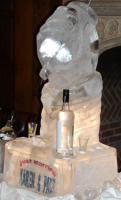 HAND WITH BOTTLE ICE SCULPTURE