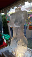 HAND CARVED FEMALE TORSO ICE SCULPTURE VODKA LUGE