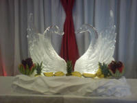 PAIR OF LARGE ICE SWANS